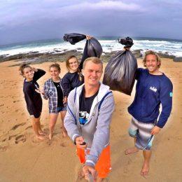 Shark volunteers on beach cleanup